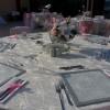 Beyaz veya krem banket masa dantel kiralama